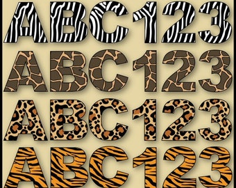 Wild Alphabet & Numbers Clip Art Collection