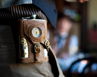 The Time Traveler - Made to Order Steampunk Flask with Working Clock