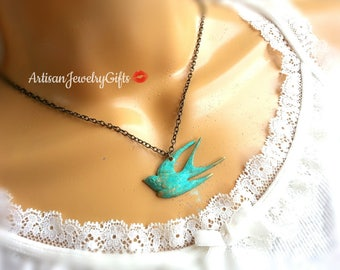 Patina Sparrow Necklace Patina Bird Necklace Patina Swallow Necklace Patina Bird Charm Necklace Boho Necklace Mother's Day Gift For Her