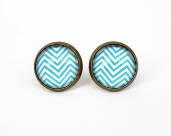 CLEARANCE SALE - Teal Blue Chevron Earposts - Antique Bronze Glass Stud Earrings