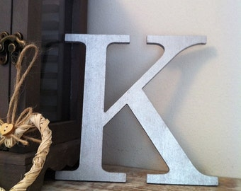 Decorative Wooden Wall Letter 'K' - Any Colour - Plain Finish - Roman Style - 10""