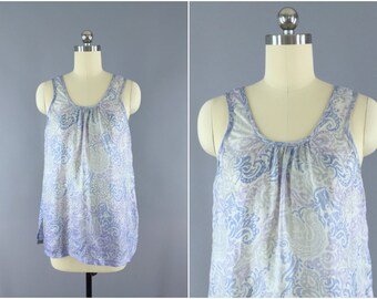 Silk Camisole Tank Top Blouse / Vintage Indian Sari / Blue Lavender Print / Boho Style / Size S Small