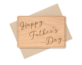 Father's Day Cards. Happy Fathers Day Card Wood. Wood Gift Ideas for Dad.