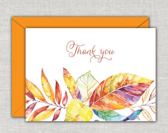 Fall Leaves Thank You Note Cards, Note Card, Bright Fall, Autumn Leaves, Orange, Yellow, Purple, Seasonal Note Cards, Folded Note Cards