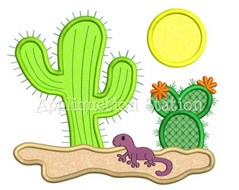 Cactus Desert Southwest Scene Applique Machine Embroidery Design gecko lizard iguana INSTANT DOWNLOAD