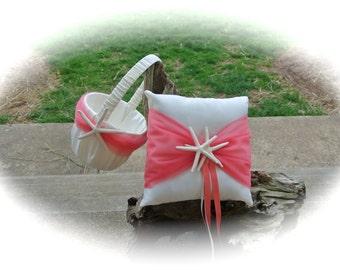 Beach Wedding Flower Girl Basket & Pillow Set, Coral And Starfish Wedding