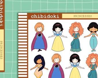 Cute Princesses Planner Sticker Set  | Erin Condren Planner| Kikki K | Filofax | Plum Planner |  Happy Planner