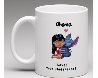 Lilo and stitch - hand drawn Ooak, coffee mug, tea cup, Ohana, love different, heart, mug, cup