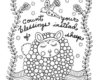 Printable Coloring Page Count Sheep Christian Art Girls Room Adult Coloring page to Color/digi/digital/adult coloring