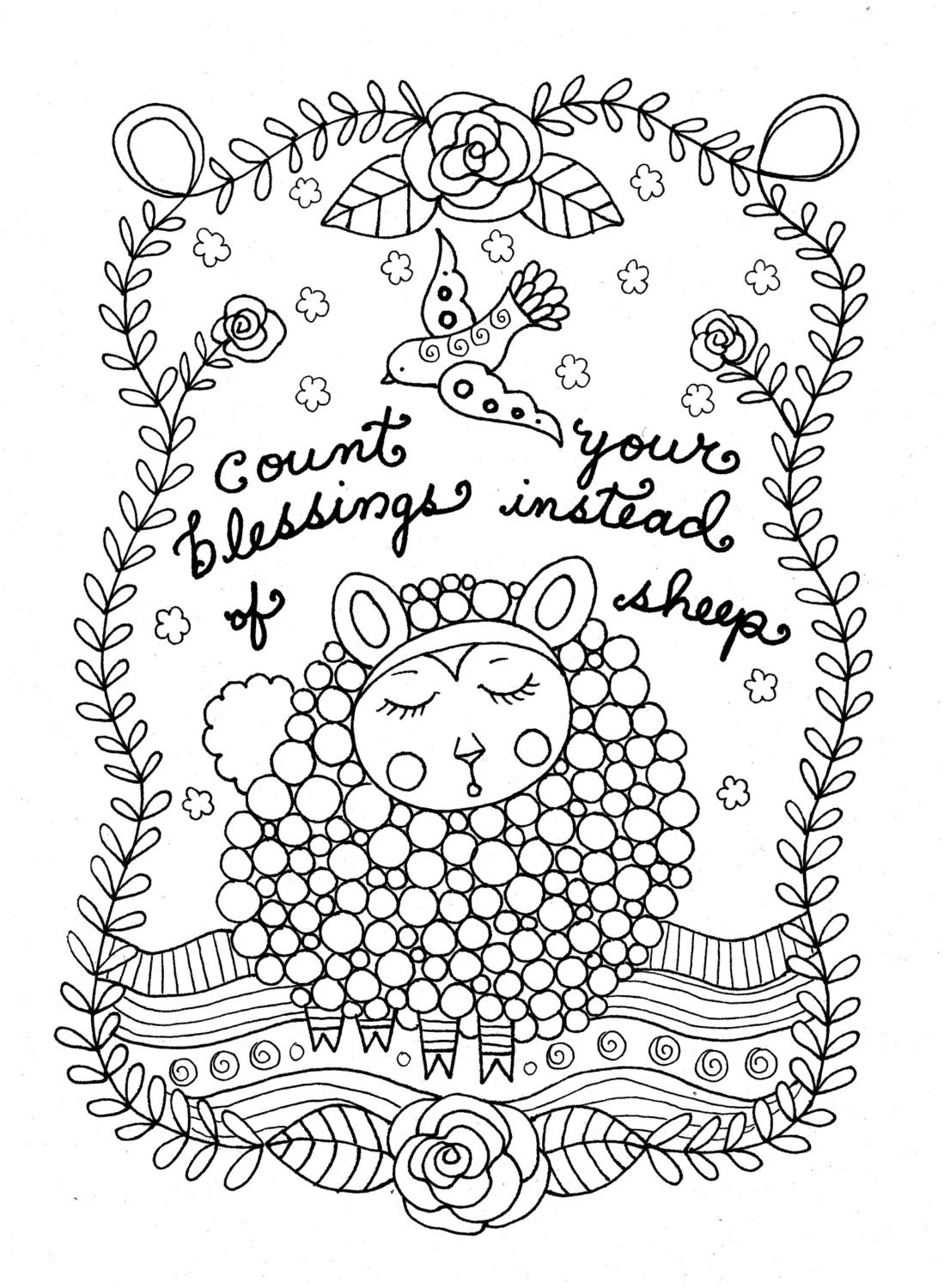 Printable Coloring Page Count Sheep Christian Art Girls Room