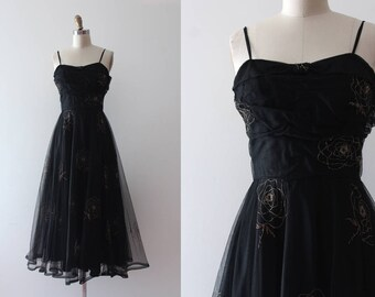 vintage 1930s gown // 30s black mesh floral dress