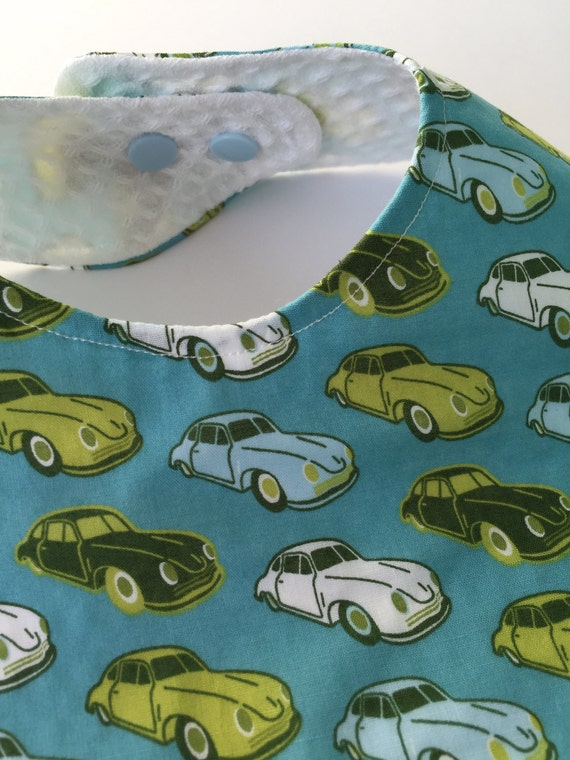 Extra large adjustable baby and toddler bib with Porsche 356 print. Hand made out of soft cotton, waffle cotton and colour snaps.