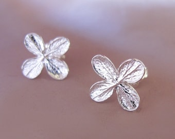 Hydrangea Flower Post Earrings in Sterling Silver, Flower Stud Earrings, Free Shipping, Gardening Gift