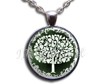 Tree of Life Glass White Green Dome Pendant or with Chain Link Necklace NT150