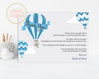 Blue Hot Air Balloon Thank You Card, Baby Shower Thank You INSTANT DOWNLOAD, Printable, Up Up and Away, Balloon Baby Shower, Thank You Cards