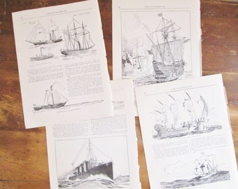 Vintage 1922 Chatterbox The Romance of Shipbuilding Four Original Book Paper Pages Illustrated Lithography Litho Prints Home Decor