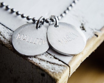 Engraved Name Necklace | 1 2 3 4 Name Necklace | Name One Two Three Four Disc Necklace | 1 2 3 4 Disc Necklace | Engraved Discs