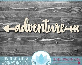 Adventure Arrow Wood Word Sign, Adventure Nursery Arrow, Wooden Adventure Arrow Cutout, Wood Arrow Sign, Large Wood Arrow, Kids Room Decor