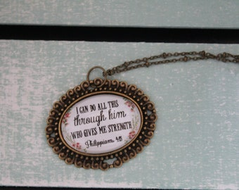 Charm glass pendant necklace I can do all things
