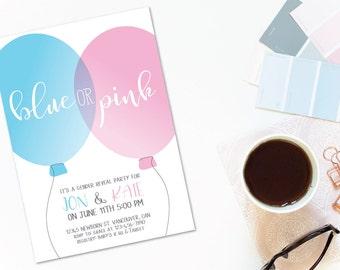 Gender Reveal Invitation, Gender Reveal Party Invitation, Gender Reveal Invite, Baby Reveal Invite, Gender Reveal Card, Blue or Pink