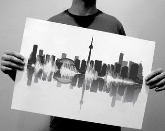 Toronto Skyline Art: Canada Sound Wave Cityscape Design - Unique Toronto, Ontario Decor