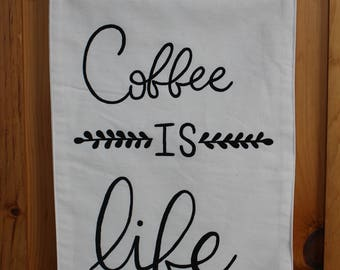 Hand Painted Canvas Wall Hanging Coffee Is Life