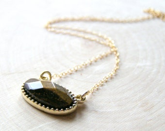 Gold Tiger Eye Necklace, Faceted Gemstone on Gold Fill Chain, Brown Tiger Eye, Dainty Oval Pendant on Chain, Unique Graduation Gift for Her