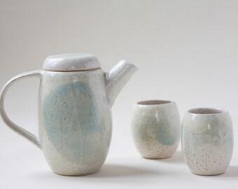 Handmade ceramic tea set for two - tea pot and 2 cups