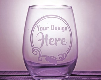 Customized Wine Glass - Corporate Gifts - Personalized - Birthday Gift - Gift Ideas - Gifts for Him - Company Logo - Etched Glass