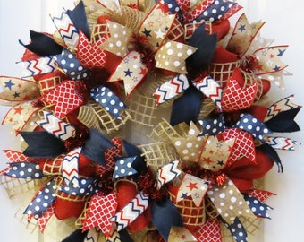 Patriotic Wreath, 4th of July Wreath, Burlap Patriotic Wreaths, Americana Wreath, Memorial Day Wreath, July 4 decor, Memorial Day Decor