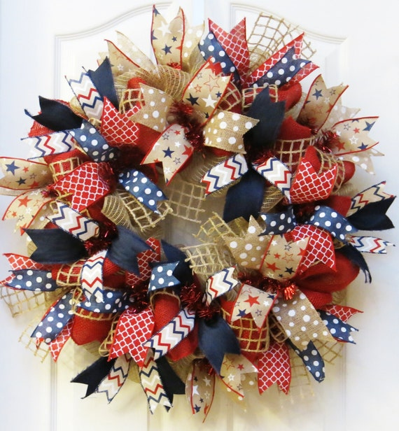 Patriotic Wreath 4th Of July Wreath Burlap Patriotic