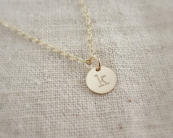 Tiny gold initial necklace, personalized necklace, custom initial, gold monogram, layering necklace