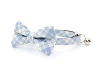 """Bow Tie Cat Collar Set - """"Greyson"""" - Light Blue Plaid Cat Collar with Bow Tie (Removable) / Breakaway Collar or Non-Breakaway"""