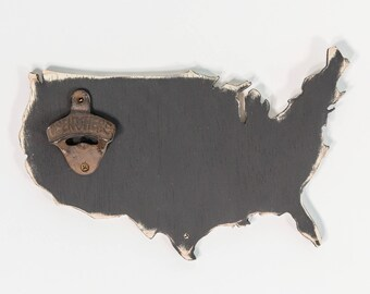 Chalkboard USA Wooden Bottle Opener, Distressed, Modern Rustic, Most countries available