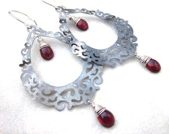 Dramatic metal lace earrings, long bohemian cut out silver red garnet earrings, intricate oxidized sterling silver goth gemstone earrings
