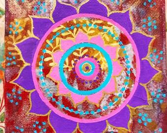 "Original Mixed Media Mandala on canvas 2 - 4""x4"""