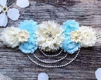 Blue and Cream Lace and Pearls Maternity Sash - Maternity Sash - Baby Shower Sash - Maternity Sash Boy - Maternity - maternity belly sash