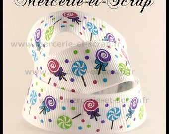 Ribbon candy LOLLIPOPS grosgrain Ribbon 22 mm by the yard white background