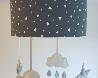 Star Lampshade Ceiling Nursery, Silver Star Mobile Nursery, Cloud and Stars Baby Mobile, Charcoal Lamp Shade, Unique Nursery Decor Boy