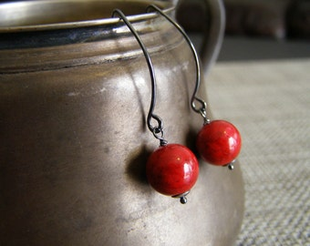 Red fossil stone earrings