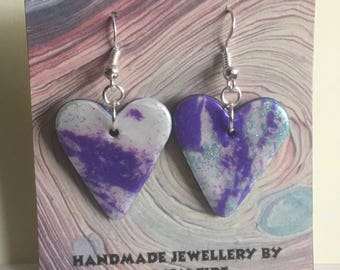 Handmade mokume gane polymer clay earrings - hearts