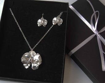 A Set of Orchid Earrings and Large Pendant/Handmade Sterling Silver Orchid Pendant and Earrings/Sterling Silver Flower/Silversmith Jewelry