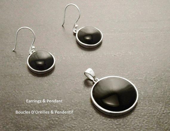 Onyx, Silver, Earrings Set, Black Stone, Black Onyx, Design, Minimalist, Everyday, Women, News, Fashion, Silver Jewelry, silver Gift