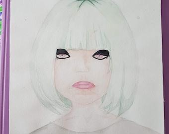 Green haired girl PRINT