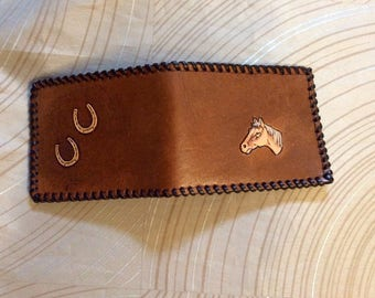 Childs wallet, Billfold,credit billfold, leather wallet,hand tooled horse billfold,billfold,hand tooled,horse shoe wallet,laced and stitched