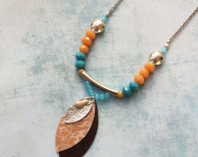 Boho Necklace crystal beads & paper, boho chic necklace - charm leaf shape - lockets - turquoise and nude
