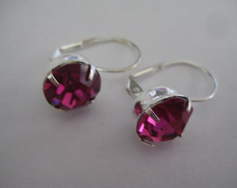 Lot of 4 Sterling Plated Leverback Pierced Earrings with 11mm Fuchsia Rhinestones