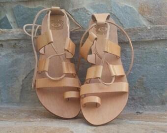 Leather Tie up sandals, Lace up Sandals, Greek Sandals, Greek Leather sandals, Women Gladiator Sandals, Lace up sandals for women, Handmade