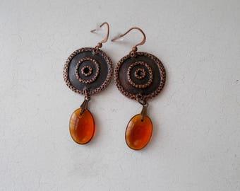 Aztec Round Shield Czech Glass Bead Dangle Earrings