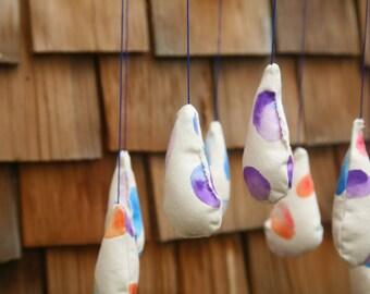 Nursery Mobile, Rainbow Rain Mobile, Hand-painted Mobile